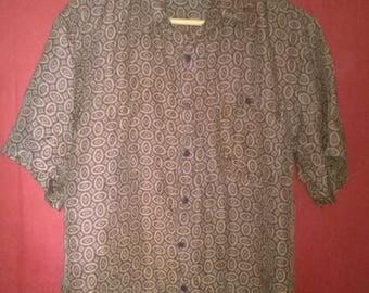 Vintage 90s Shirt patterned Silk Shirt Button Up Naf Naf Mens shirt silk Size L