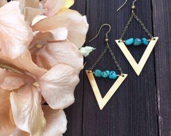 Turquoise chevron triangle earrings