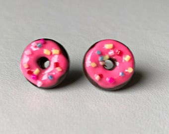 Donut Earrings Stud Earrings Polymer Clay Earrings Chocolate Doughnut Earrings