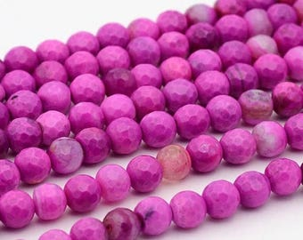 15% off SALE 6mm Hot Pink Agate Gemstone Beads, Bright Pink, (12 beads) Gemstone, Agate Beads 6mm Pink Stone Beads Agate Beads