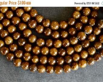 20% SALE 6mm Brown Jade Gemstone Beads Gemstone (16) Smooth Stone Beads, 6mm Round Beads, Brown Jade Beads