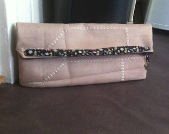 Liberty beige suede convertible clutch