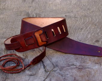 Guitar strap, Tracolla per chitarra, Cuoio, Full grain Leather, marrone, brown
