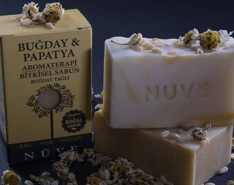 Nuve Wheat Camomile Soap - Handmade Aromatherapy Herbal Collection - All Natural With Olive Oil (110 gr. / 4 oz.)