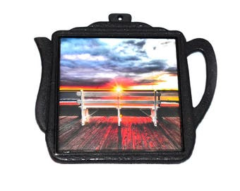 Hot Plate For Cooking  / Cast Iron Trivet With Heat Resistant Photographic Tile / Beach House Kitchen Decor / Beach Trivet