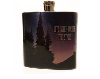 Lets Sleep Under The Stars Flask With Quote / Flask For Women / Romantic Gift For Girlfriend / Mountain Gift