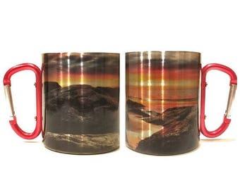 FLASH SALE Christmas Gift For Beach Lovers / Carabiner Handle Coffee Mug / Nature Lovers Eco Friendly Mug