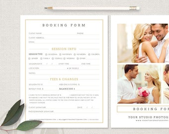 Client Booking Form - Photography Booking Form Template, Instant Download, Photography Forms, Photoshop Template for Photographers