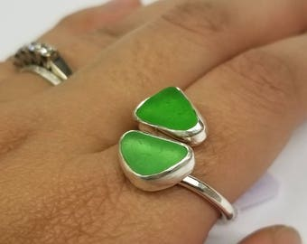 Kelly Green Sea Glass Double Ring, Size 8.5