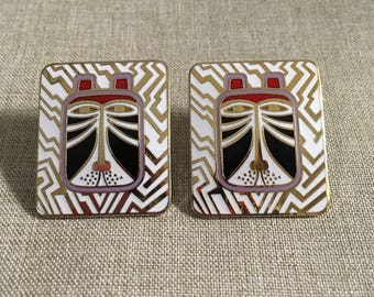 "Laurel Burch Vintage Post Earrings ""Toshio"" - Gold Plating Worn on the Backs"