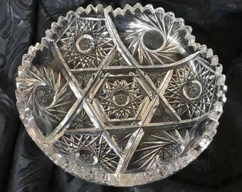 Antique American Cut Glass Dish with Hobstars, Pinwheels, and Sawtooth Edge - Possible American Brilliant Period Cut Glass (1876 to 1916)
