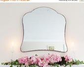 SALE Large Modernist Mirror MidCentury Mirror Art Deco mirror frameless mirror Bevelled edge beveled mirror  M227