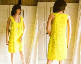 Unused 60s style bright yellow shift dress Bright yellow ruffle dress Yellow party dress Yellow Summer dress Yellow mini dress