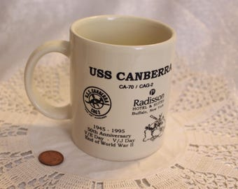 "Vintage ""USS Canberra CA-70 CAG-2"" Mug Navy Mug, Radisson Universal 50th Anniversary Memorial Reunion"