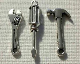 Tool charms - hammer charm - hacksaw charm - wrench charm - hand saw charm - screwdriver charm - construction charms - charms and pendants