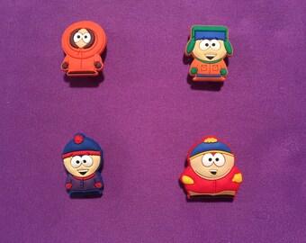 4-pc South Park Shoe Charms for Crocs, Silicone Bracelet Charms, Party Favors, Jibbitz