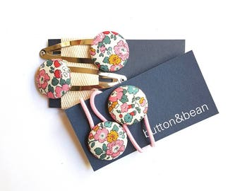 Fabric covered buttons Liberty of London hair ties and snap clips set.  23mm button elastics.