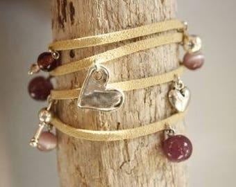 Tan suede bracelet, beads and pendants (4 wrap)