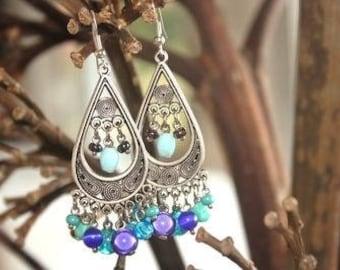 """""""Ethnic"""" Turquoise drops earrings"""