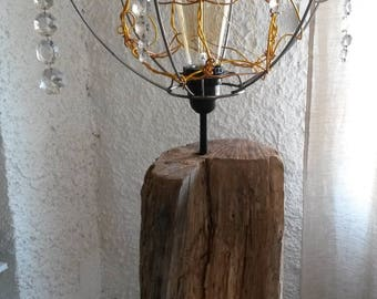 lamp base in wood Driftwood lamp shade wire wheels and pendants