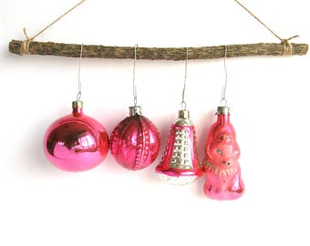 4 pink glass Christmas tree ornaments, Soviet Xmas tree decoration, Bauble, Fox, Bell, Ball, New Year,  USSR, Soviet Union, 1970s, 70s