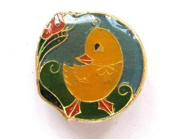 SALE, Duckling and butterfly, Soviet Children's badge, Vintage collectible badge, Soviet Vintage Pin, USSR, 1980s