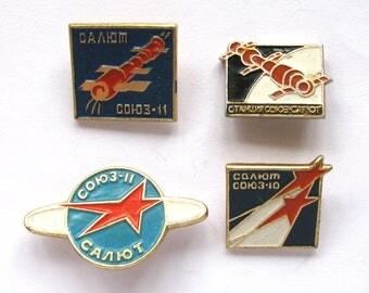 Soyuz Salyut, Set of 4 Soviet Space Badges, Vintage metal collectible badge, Spacecraft, Soviet Pin, Vintage Badge, Made in USSR, 1980s