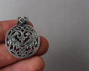 Two birds pendant, Bird necklace, Bird jewelry, Bird pendant, Bird charm, Birds jewelry, Pendant with Birds, Silver plated necklace