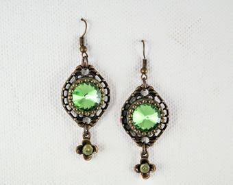 Green earrings vintage earrings big earrings vintage jewelry victorian earrings bright earrings shiny earrings green jewelry gift for her