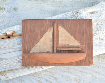 Rustic Sailboat, Sailboat Art, Wood and Fabric, Primitive, Schooner, Wooden Plaque, Rustic Decor, Cabin Decor, Nautical Decor, Boat Art