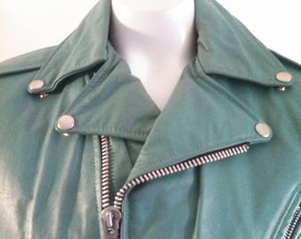 80s Green Leather Vest / Biker Vest / Buckles and Zippers / Carnival of Fashion