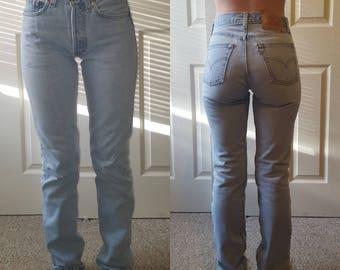 Levi's 501 Vintage High Waist Denim Jeans Light Blue Wash Authentic Gift Womens Slim Fit Straight Leg 24 25 26 27 28 29 30 31 32 33 34 Mom