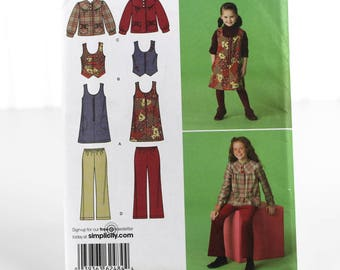 Girls Jumper Vest Jacket and Cropped Pants Pattern, UNCUT Sewing Pattern, Simplicity 2484 - Size 7-14