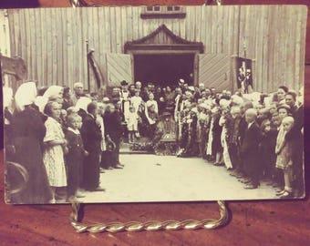 Vintage Funeral Real Photograph Postcard, Lithuania