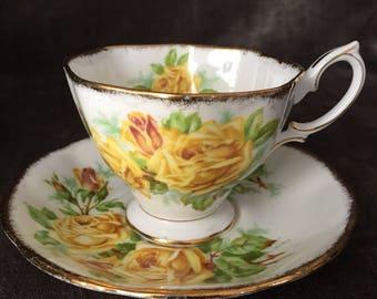 Royal Albert yellow Tea rose teacup and saucer set 839056