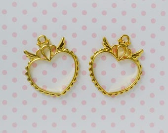 37mm Kawaii Golden Heart Angel Wings Crown Decoden Bezel Pendant Charm - set of 2