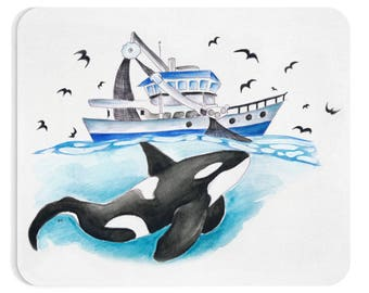 Orca And The Boat Watercolor Art
