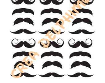 Has Stiker stick 24 black mustaches MOUST1 Board