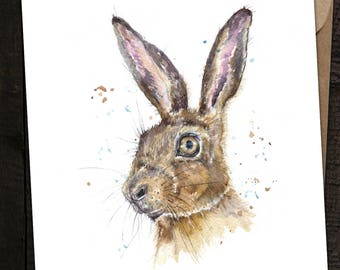 Hare Card, Hare Birthday Card, Hare, British Wildlife