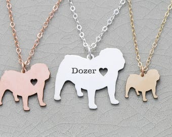 Bulldog Necklace • English Bulldog • Pet Charm Bulldog Pendant • Dog Jewelry Dog Mom Gift New Puppy Custom Pet Engraved Pet Name