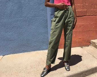 Army Green High Waist Pants Size 24 25, High Wasted Dark Army Green Pants Small, Military Pants Size 24, Military Pants Small, Army Pants XS