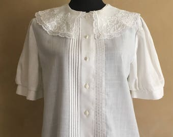 Vintage 70's White Cotton Blouse- Embroidered Lace Collar-