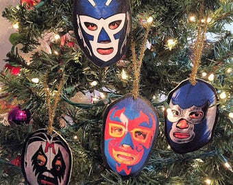 Lucha Libre Set of 4 Wooden Handmade Ornaments