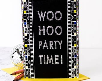 Woo Hoo Party Time! Card; Birthday Card; Card For Him; Card For Men; Husband Birthday; Boyfriend Birthday; Dad Birthday; GC518