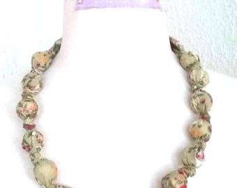 liberty style almond green fabric necklace pink flowers