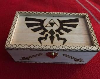 Legend of Zelda Triforce woodburned box