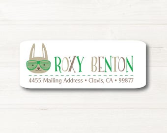 Funny Bunny, Return Address Label, Personalized, MATTE, Easter, Holiday