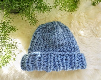 Soft Blue Knit Beanie with Ribbed Brim