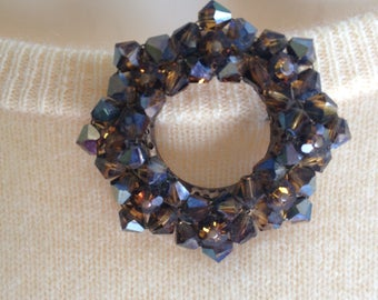 Amber Glass Vintage Wreath Brooch