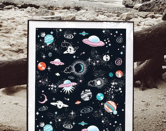Space Galaxy constellation print